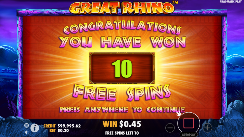 great rhino free spins bonus round