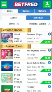 Bet Fred Bingo games screenshot