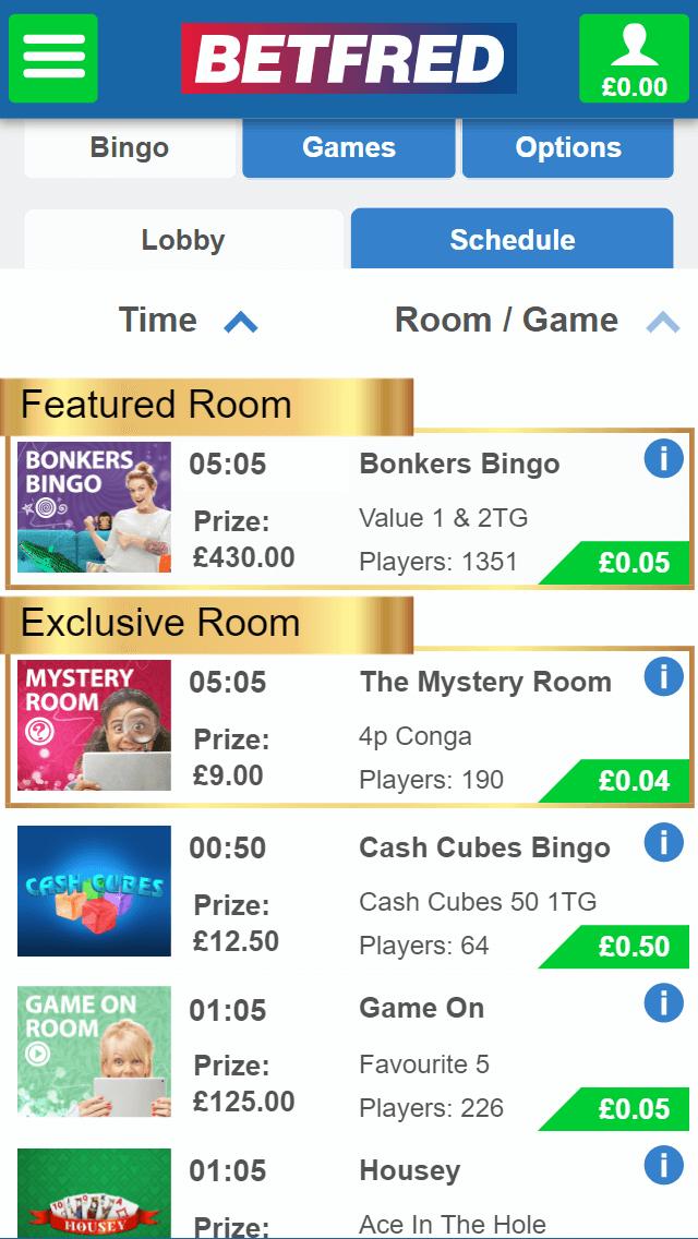 Bet Fred Bingo games screenshot