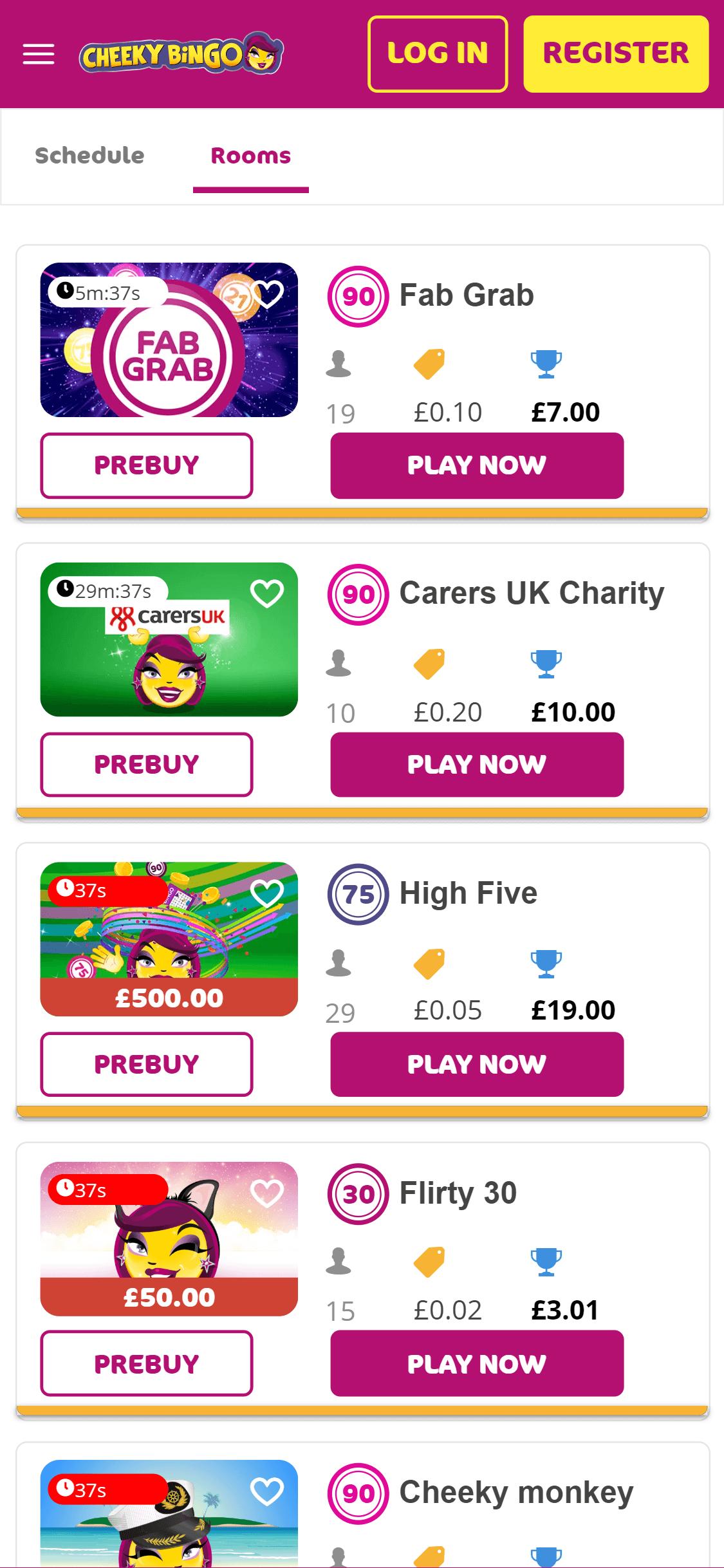 cheeky bingo screenshot
