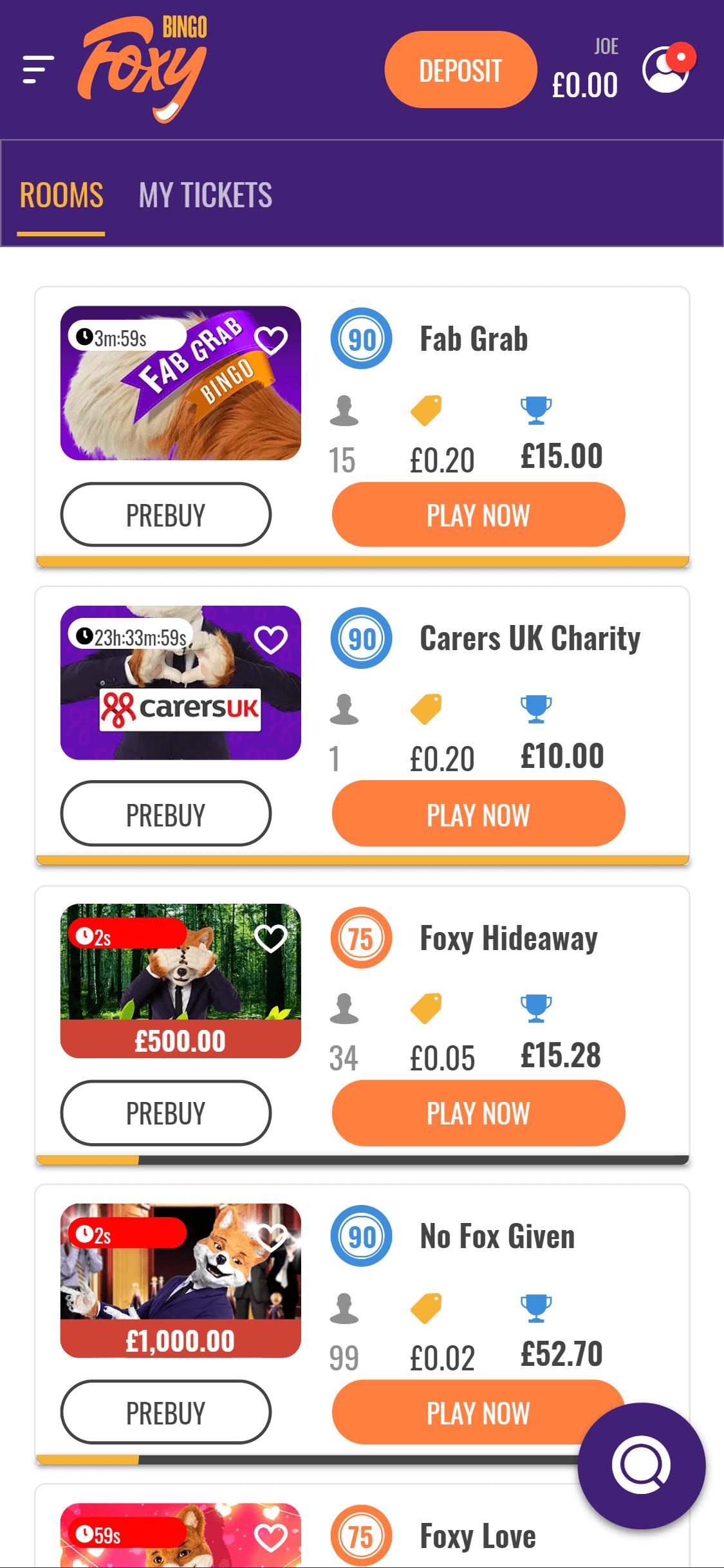 foxy bingo online bingo games screenshot