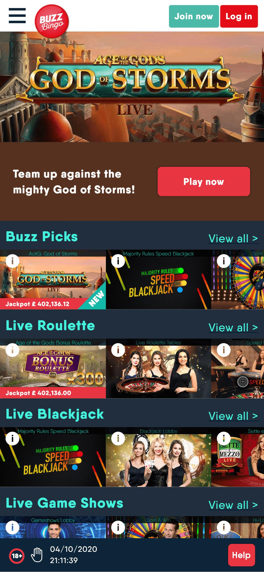 buzz bingo jackpot games screenshot