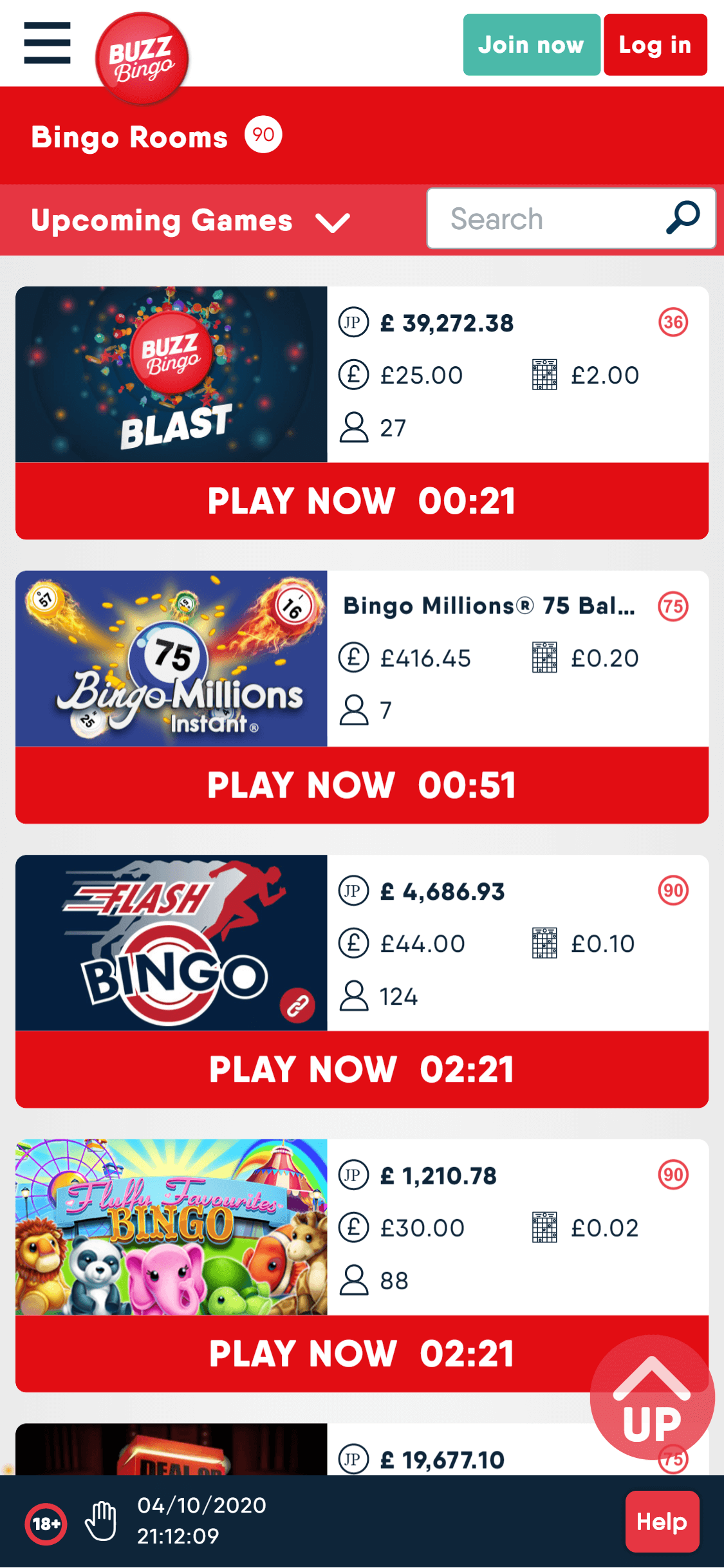 buzz bingo online bingo games screenshot