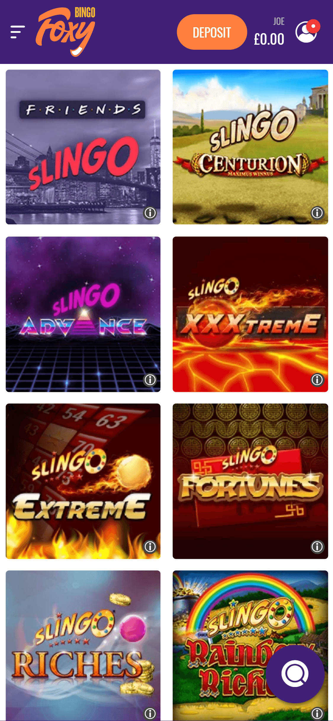 foxy bingo slingo games screenshot