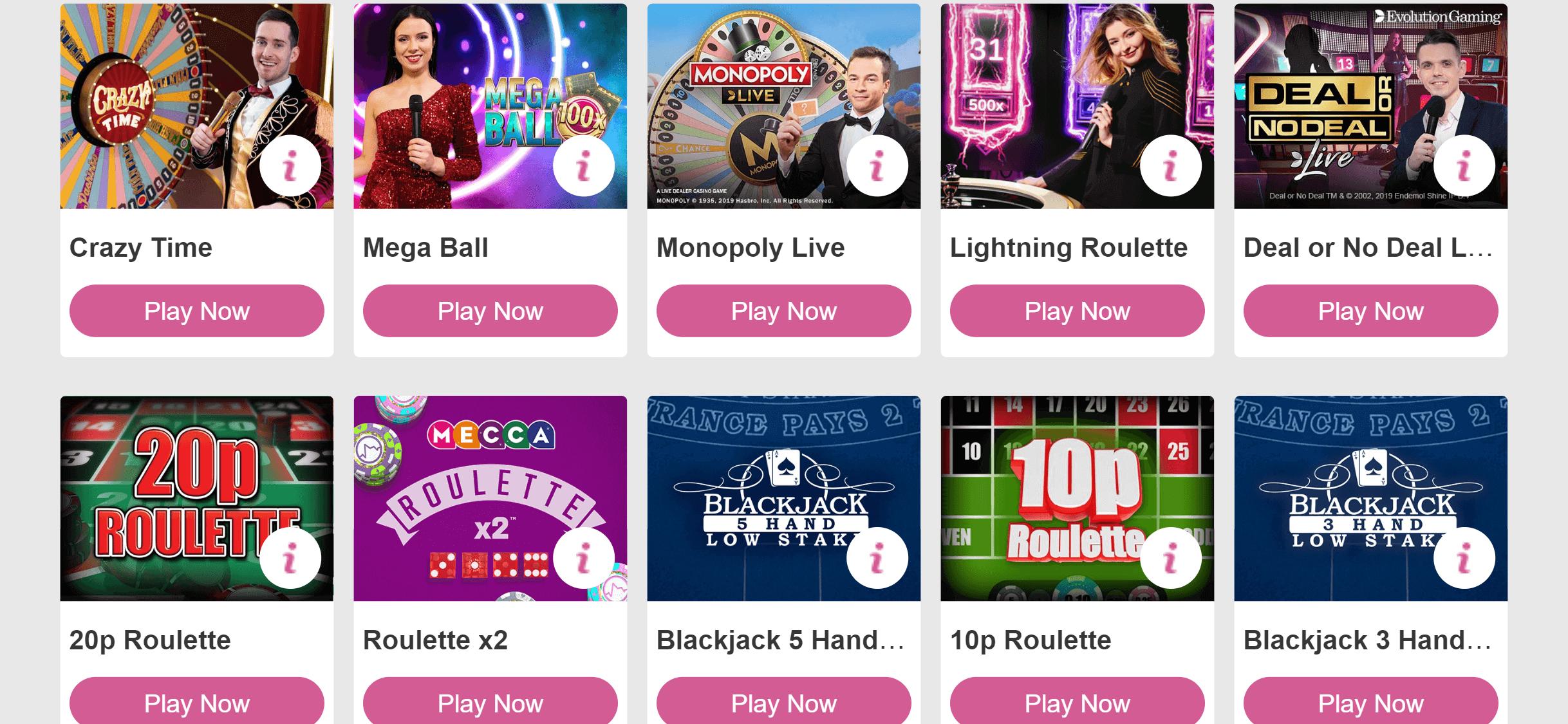 mecca bingo live casino games screenshot