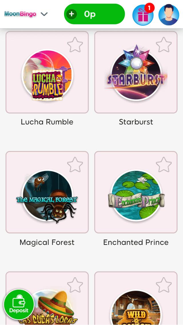 Moon Bingo online slot games screenshot