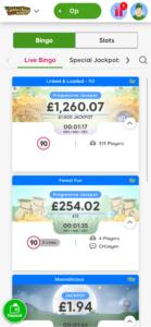 robin hood online bingo games screenshot