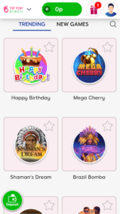 tip top bingo slot games screenshot