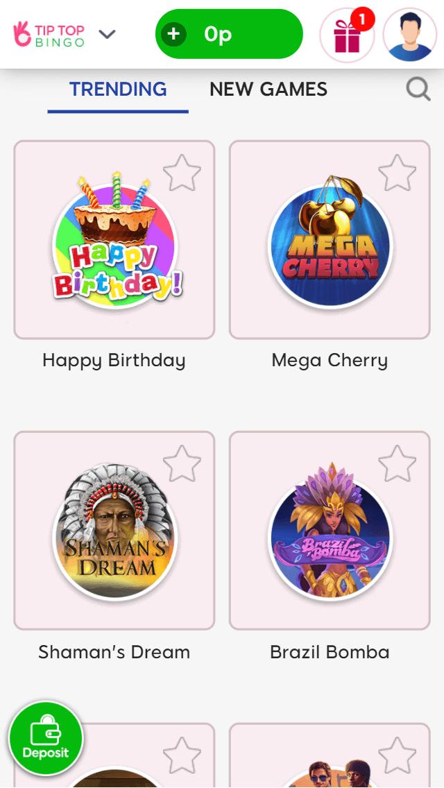 tip top bingo slot games screenshot