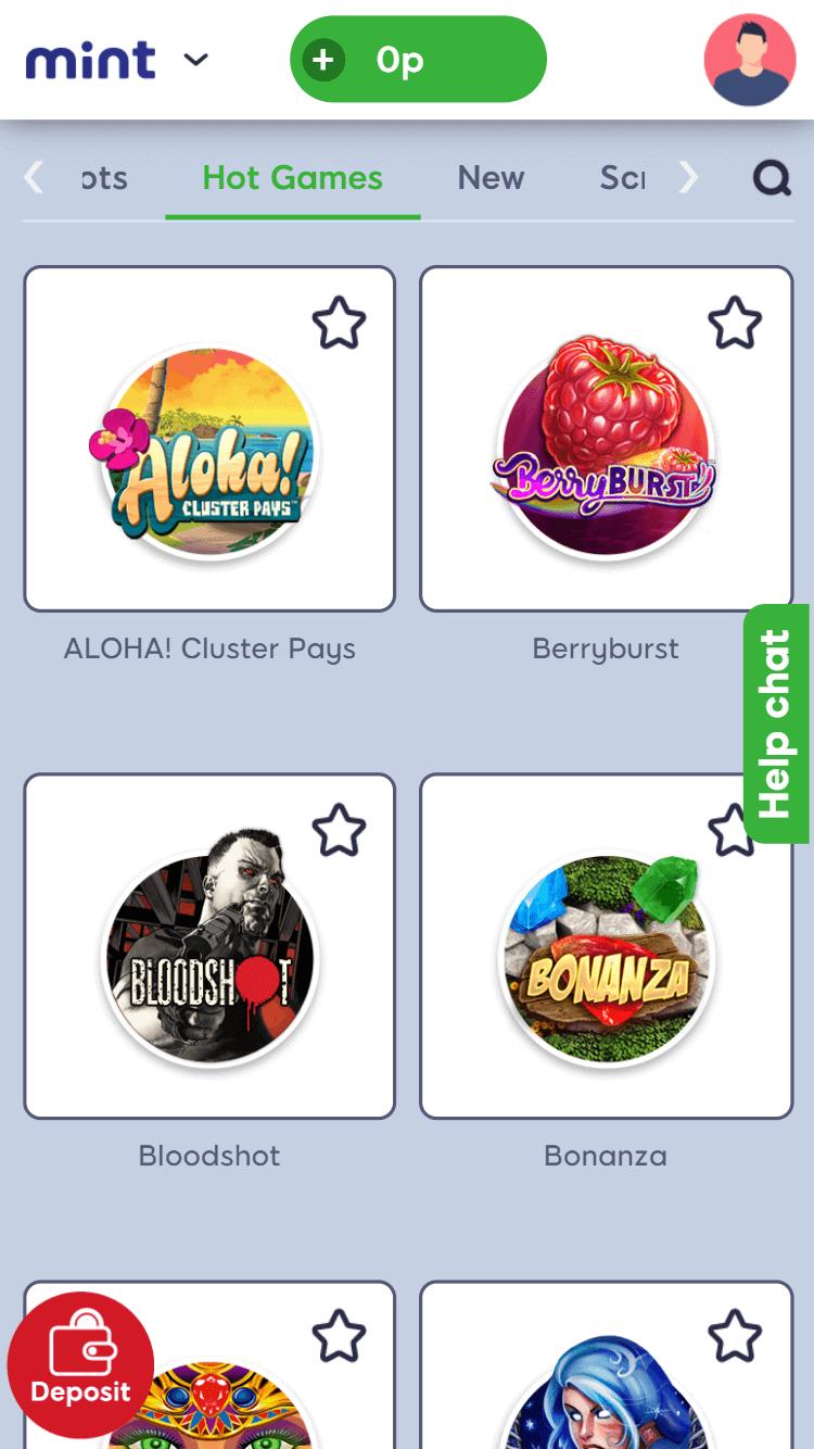 mint bingo online slots screenshot