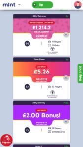 mint bingo online bingo games screenshot