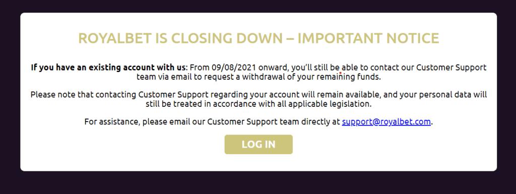 RoyalBet announces site closure