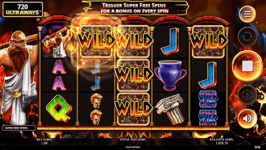 screenshot of gods of fire online slot